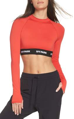 Ivy Park R) Logo Tape Open Back Crop Top