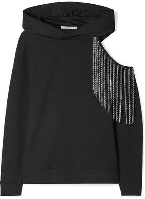 Christopher Kane Cutout Embellished Cotton-jersey Hooded Top - Black