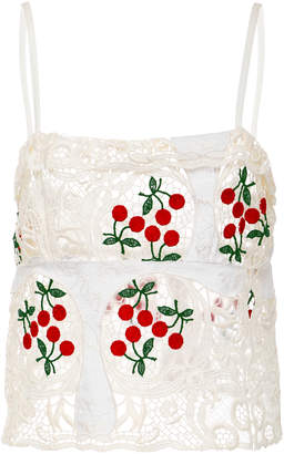 Brock Collection Spaghetti Cherry Lace Strap Talia Top