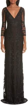Marchesa Mesh & Lace Evening Dress