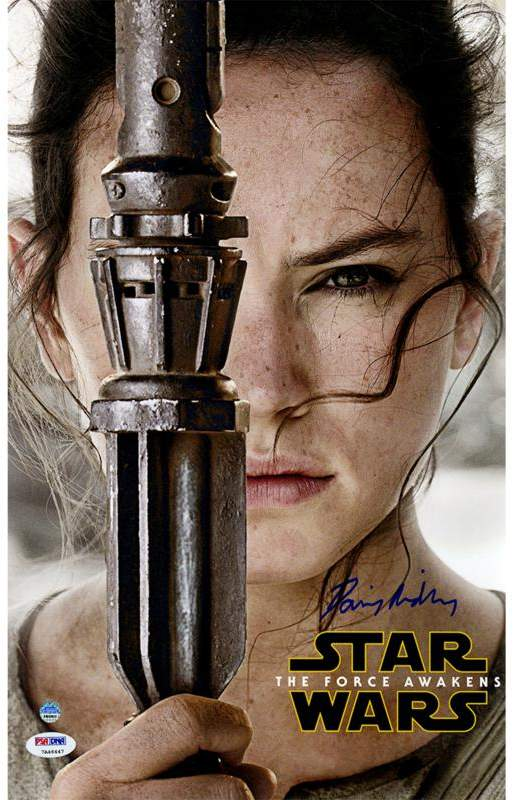 """Daisy Ridley Rey Signed Star Wars VII: The Force Awakens 10"""" x 16"""" Close-Up Movie Poster"""