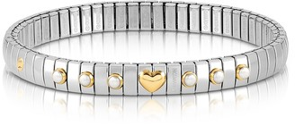 Nomination Stainless Steel Women's Bracelet w/White Pearls and Golden Heart