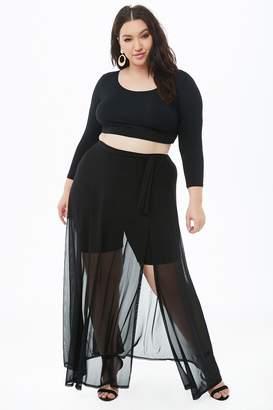 Forever 21 Plus Size Sheer Mesh Maxi Wrap Skirt
