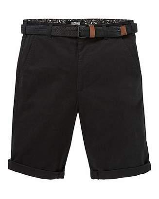 Jacamo Black Belted Chino Shorts