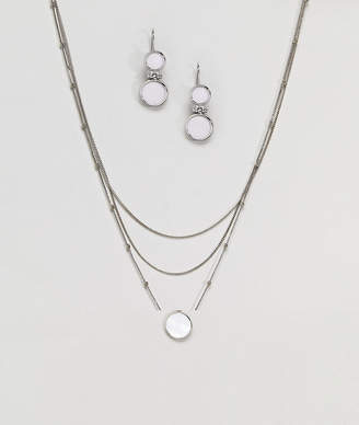 NY:LON Multi Layered Necklace And Stone Detail Earring Gift Set