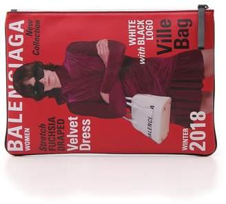 Balenciaga Magazine Print Zipped Pouch