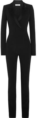 Mugler - Satin-trimmed Stretch-crepe Jumpsuit - Black $3,220 thestylecure.com