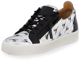 Giuseppe Zanotti Men's Logo Patent Leather Low-Top Sneaker, Silver/Black