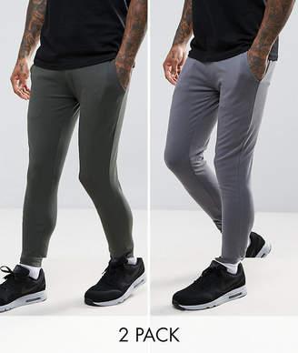 Asos DESIGN Extreme Super Skinny Joggers 2 Pack Khaki/ Washed Black SAVE