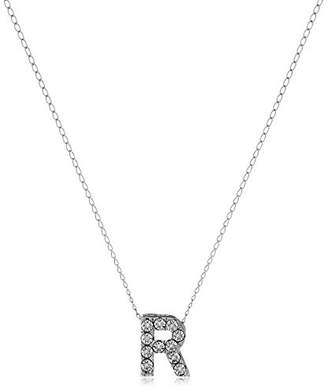 "Sterling Mini Diamond Initial ""R"" Pendant Necklace"