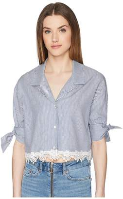 The Kooples Shirt with Fine Stripes and Lace at The Hem Women's Clothing