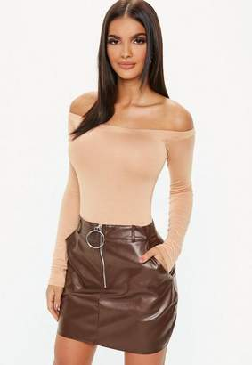 Missguided Chocolate Faux Leather Zip Front Mini Skirt