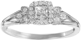 Vera Wang Simply Vera Diamond Leaf Halo Engagement Ring in 14k White Gold (1/4 ct. T.W.)