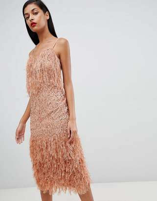 Asos DESIGN Feather Trim Sequin Midi Dress