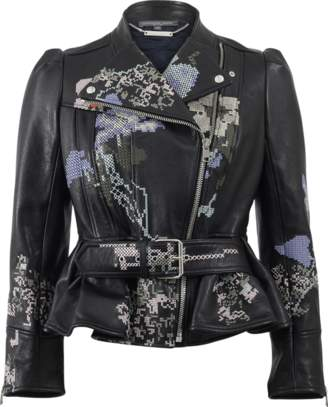 ALEXANDER MCQUEEN Cross-Stitch Peplum Leather Jacket