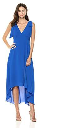 Nicole Miller New York Women's Sleeveless v-Neck high Low Dress with Shoulder Bows