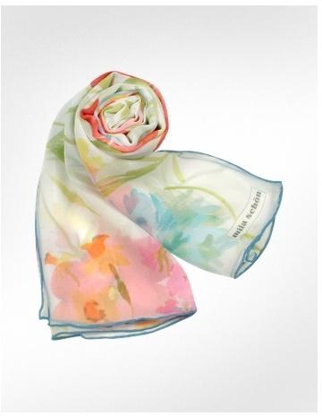 Mila Schon Floral Bouquet Chiffon Silk Long Scarf