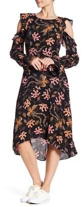 Rachel Roy Cold Shoulder Ruffle Midi Dress
