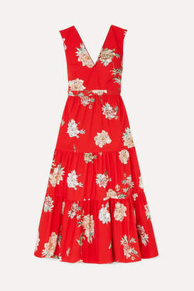 Paul & Joe Jtania Floral-print Cotton-poplin Maxi Dress - Red