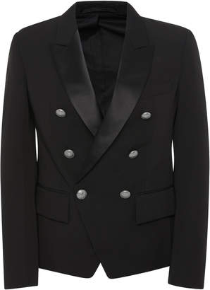Balmain Satin-Trimmed Double-Breasted Crepe Blazer