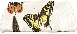 "E By Design Simply Daisy 28"" x 58"" Antique Butterflies and Flowers Animal Print Bath Towel"