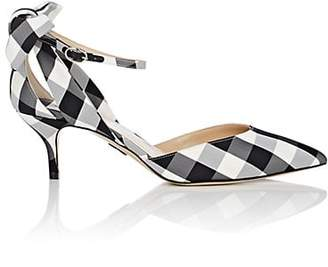 Paul Andrew WOMEN'S ANYA GINGHAM ANKLE-STRAP PUMPS - WHT.&BLK. SIZE 7