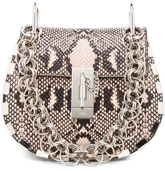 Chloé Mini Drew Bijou Python Print Leather Shoulder Bag