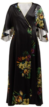 Adriana Iglesias Floral Print Silk Blend Robe Dress - Womens - Black White