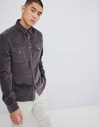 Asos Design DESIGN stretch slim western cord shirt with poppers in washed black