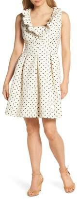 Harper Rose Metallic Polka Dot Fit & Flare Dress