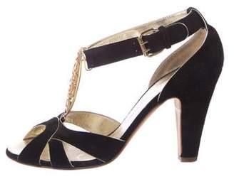 Giuseppe Zanotti Suede Peep-Toe Sandals