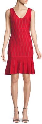 Herve Leger Sleeveless Lightweight Tonal Jacquard Cocktail Dress w/ Mesh