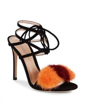 Gianvito Rossi Mink Fur-Trimmed Suede Sandals
