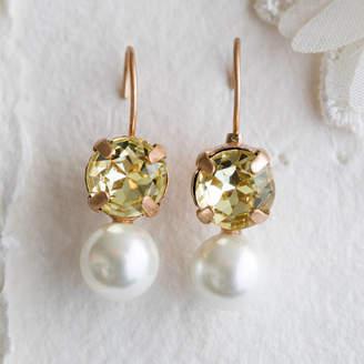 Lola & Alice Vinaya Green Crystal And Pearl Earrings