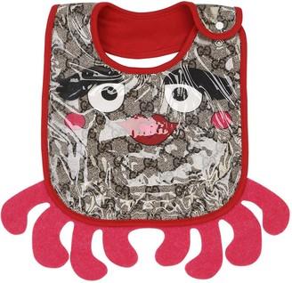 Gucci Octopus Print Laminated Cotton Bib