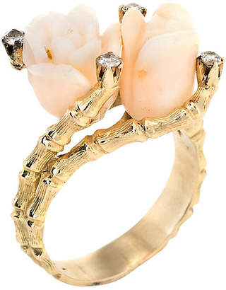 One Kings Lane Vintage Carved Coral Rose & Diamond Bamboo Ring - Precious & Rare Pieces