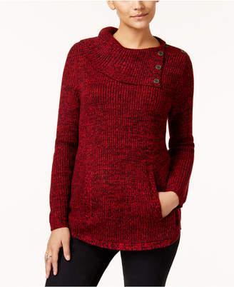 Style&Co. Style & Co Petite Envelope-Collar Kangaroo-Pocket Sweater