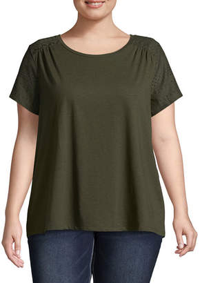 ST. JOHN'S BAY Short Sleeve Embroidered Detail Tee - Plus