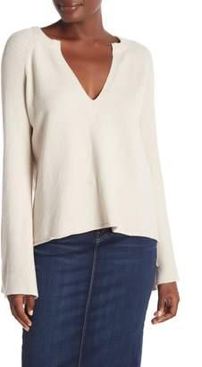 Love Stitch Plunge Neck Bell Sleeve Sweater