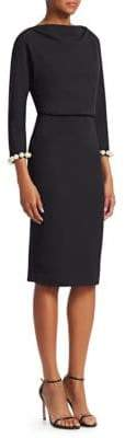 Badgley Mischka Crepe Faux-Pearl Embellished Sheath Dress