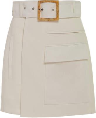 Acler Alameda High-Waist Wrap-Effect Mini Skirt Size: 2