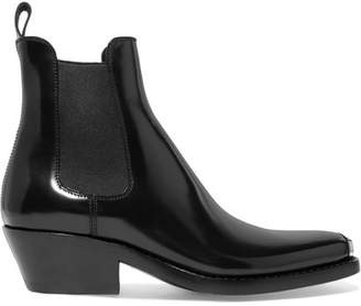 Calvin Klein Claire Metal-trimmed Glossed-leather Ankle Boots - Black