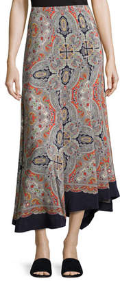Theory Bitrah Premont Paisley-Print Silk Maxi Skirt, Multicolor $535 thestylecure.com