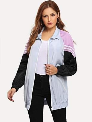 Shein Colorblock Raglan Sleeve zip-up Outerwear