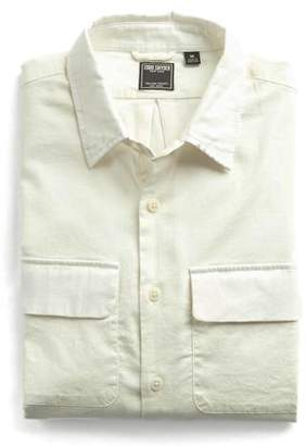 Todd Snyder Italian Stretch Cotton Flannel Camp Pocket Shirt in White