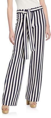 Leila Mestiza New York Striped Straight-Leg Belted Pants