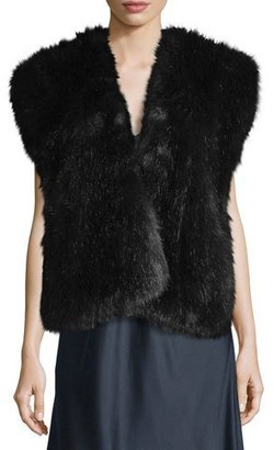 Helmut Lang Faux-Fur Surplice Vest, Midnight Navy $425 thestylecure.com