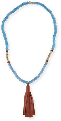 Akola Beaded Tassel Necklace, Blue/Brown