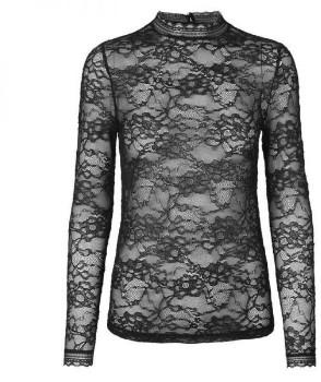 Rosemunde Black Lace Turtleneck Top - SMALL - Black