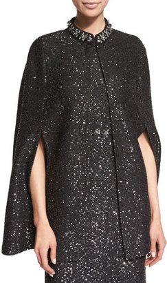 St. John Collection Beaded Spangle-Knit Cape, Caviar $1,995 thestylecure.com